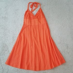 J. Crew orange halter dress